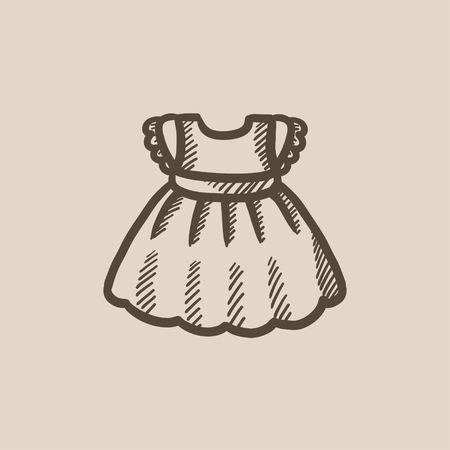 habiliment: Baby dress vector sketch icon isolated on background. Hand drawn Baby dress icon. Baby dress sketch icon for infographic, website or app. Illustration