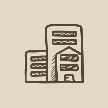 Residential buildings vector sketch icon isolated on background. Hand drawn Residential buildings icon. Residential buildings sketch icon for infographic, website or app.  イラスト・ベクター素材