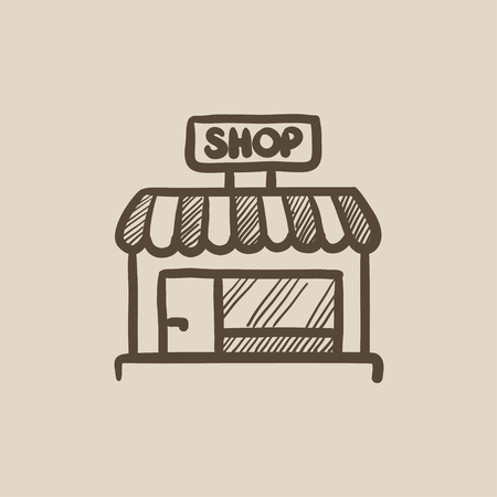 awnings: Shop store vector sketch icon isolated on background. Hand drawn Shop store icon. Shop store sketch icon for infographic, website or app.