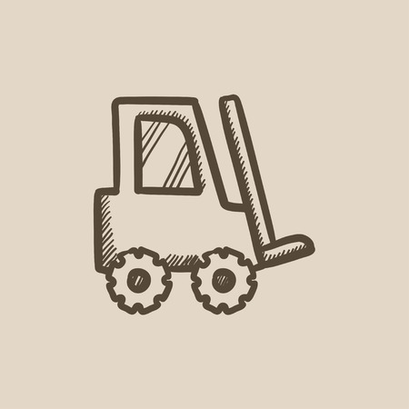 distribution picking up: Forklift vector sketch icon isolated on background. Hand drawn Forklift icon. Forklift sketch icon for infographic, website or app. Illustration