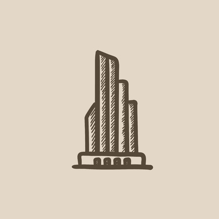 building sketch: Skyscraper office building vector sketch icon isolated on background. Hand drawn Skyscraper office building icon. Skyscraper office building sketch icon for infographic, website or app.