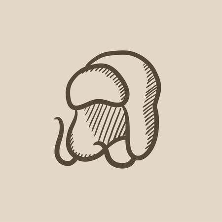 fur: Warm fur cap vector sketch icon isolated on background. Hand drawn Warm fur cap icon. Warm fur cap sketch icon for infographic, website or app.