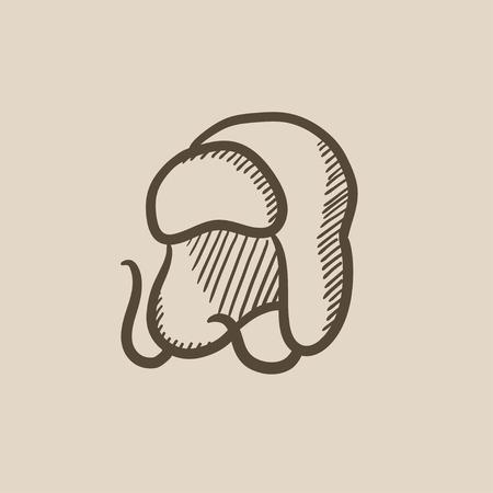 fur cap: Warm fur cap vector sketch icon isolated on background. Hand drawn Warm fur cap icon. Warm fur cap sketch icon for infographic, website or app.