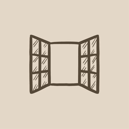 ventanas abiertas: Abra las ventanas dibujo icono del vector aislado en el fondo. Dibujado a mano icono de las ventanas abiertas. Abrir las ventanas dibujo icono de infograf�a, sitio web o aplicaci�n.