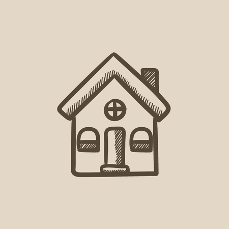 housing project: Detached house vector sketch icon isolated on background. Hand drawn Detached house icon. Detached house sketch icon for infographic, website or app. Illustration