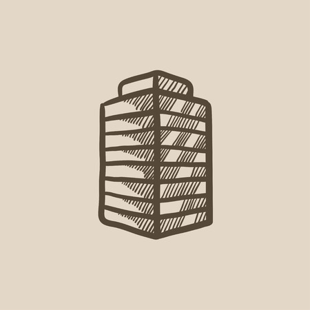 multi storey: Office building vector sketch icon isolated on background. Hand drawn Office building icon. Office building sketch icon for infographic, website or app.