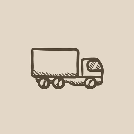 Delivery truck vector sketch icon isolated on background. Hand drawn Delivery truck icon. Delivery truck sketch icon for infographic, website or app. Illustration
