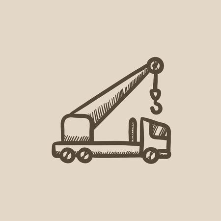 Mobiele kraan vector schets pictogram op een achtergrond. Hand getrokken Mobiele kraan icoon. Mobiele kraan schets pictogram voor infographic, website of app. Stock Illustratie