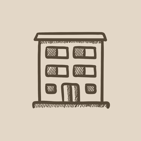 Residential building vector sketch icon isolated on background. Hand drawn Residential building icon. Residential building sketch icon for infographic, website or app. Ilustração