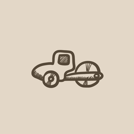 Road roller vector sketch icon isolated on background. Hand drawn Road roller icon. Road roller sketch icon for infographic, website or app.  イラスト・ベクター素材