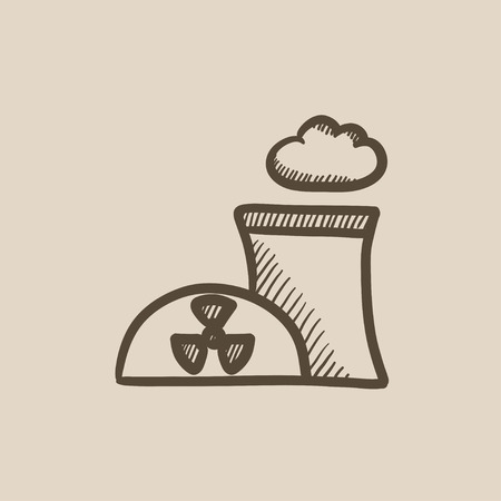 ecological damage: Nuclear power plant vector sketch icon isolated on background. Hand drawn Nuclear power plant icon. Nuclear power plant sketch icon for infographic, website or app.