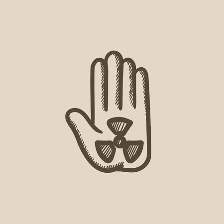 radiation sign: Ionizing radiation sign on palm vector sketch icon isolated on background. Hand drawn Ionizing radiation sign on palm icon. Ionizing radiation sign on palm sketch icon for infographic, website or app.