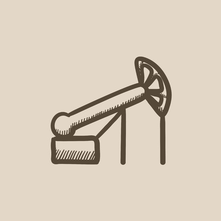 chink: Pump jack oil crane vector sketch icon isolated on background. Hand drawn Pump jack oil crane icon. Pump jack oil crane sketch icon for infographic, website or app.