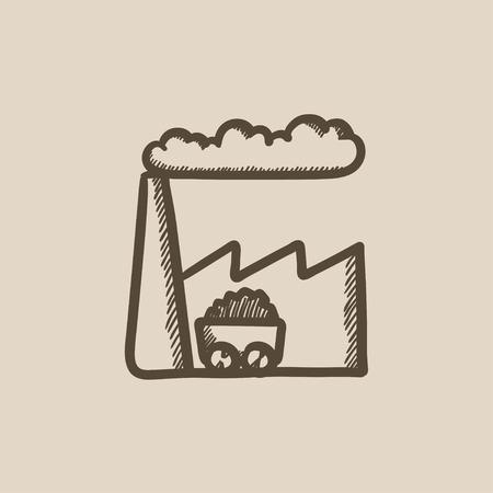 Vecteur usine croquis icône isolé sur fond. Hand drawn icône Factory. Usine icône esquisse pour infographie, site Web ou application. Banque d'images - 59272734