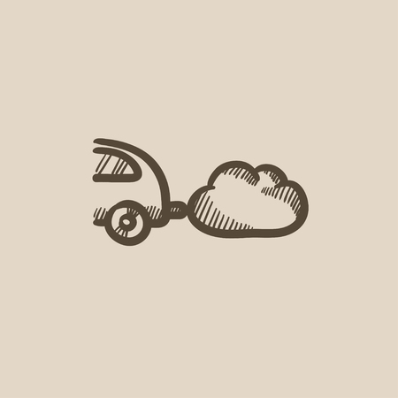 polluting: Car spewing polluting exhaust vector sketch icon isolated on background. Hand drawn Car spewing polluting exhaust icon. Car spewing polluting exhaust sketch icon for infographic, website or app.