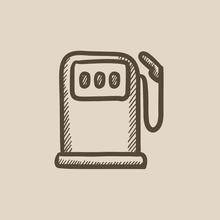 fillup: Gas station vector sketch icon isolated on background. Hand drawn Gas station icon. Gas station sketch icon for infographic, website or app. Illustration