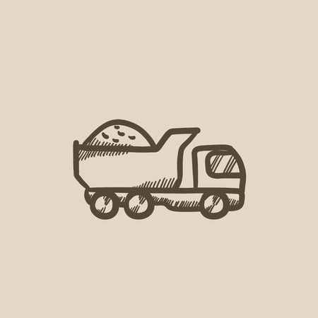 Dump truck vector sketch icon isolated on background. Hand drawn Dump truck icon. Dump truck sketch icon for infographic, website or app. Illustration