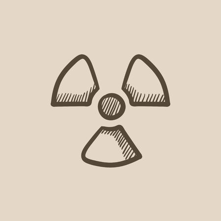 ionizing: Ionizing radiation sign vector sketch icon isolated on background. Hand drawn Ionizing radiation sign icon. Ionizing radiation sign sketch icon for infographic, website or app. Illustration