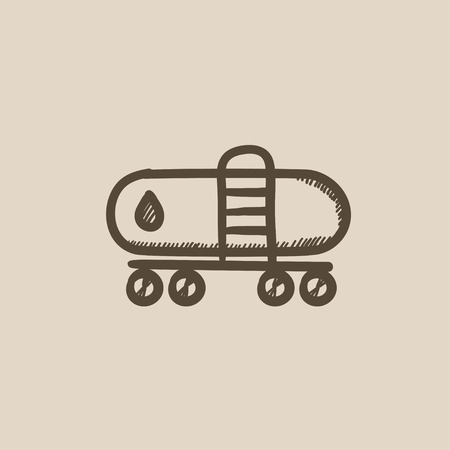 Oil tank vector sketch icon isolated on background. Hand drawn Oil tank icon. Oil tank sketch icon for infographic, website or app. Ilustração