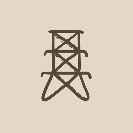 powerlines: Electric tower vector sketch icon isolated on background. Hand drawn Electric tower icon. Electric tower sketch icon for infographic, website or app.