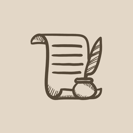 paper scroll: Paper scroll with feather pen vector sketch icon isolated on background. Hand drawn Paper scroll with feather pen icon. Paper scroll with feather pen sketch icon for infographic, website or app.