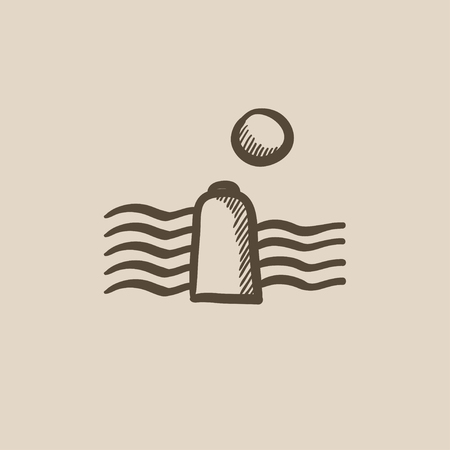 hydro electric: Solar energy and hydropower vector sketch icon isolated on background. Hand drawn Solar energy and hydropower icon. Solar energy and hydropower sketch icon for infographic, website or app.