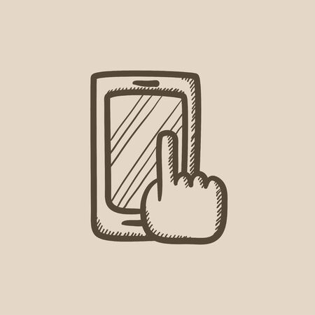 Señalar con el dedo en smart dibujo icono del vector del teléfono aislado en el fondo. dibujado a mano del dedo que señala en icono del teléfono inteligente. Dedo que apunta a dibujo icono de teléfono inteligente para la infografía, sitio web o aplicación. Foto de archivo - 59273152