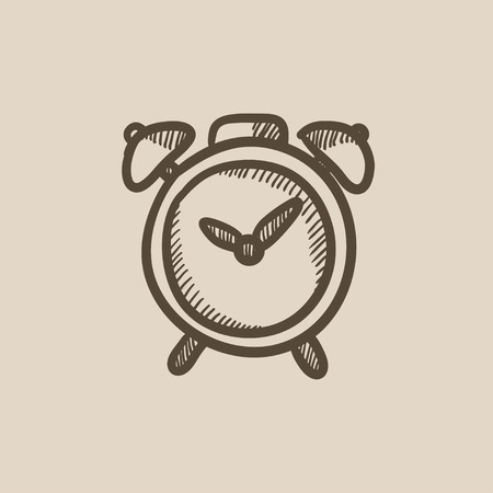 awakening: Alarm clock vector sketch icon isolated on background. Hand drawn Alarm clock icon. Alarm clock sketch icon for infographic, website or app. Illustration