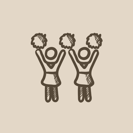 cheerleading squad: Cheerleaders  vector sketch icon isolated on background. Hand drawn Cheerleaders  icon. Cheerleaders  sketch icon for infographic, website or app.