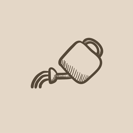 bailer: Watering can vector sketch icon isolated on background. Hand drawn Watering can icon. Watering can sketch icon for infographic, website or app.