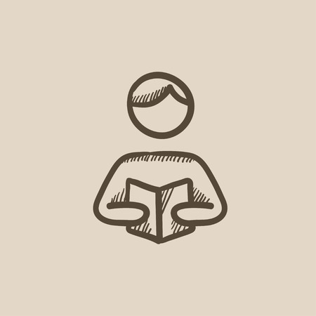 reading app: Man reading book vector sketch icon isolated on background. Hand drawn Man reading book icon. Man reading book sketch icon for infographic, website or app.