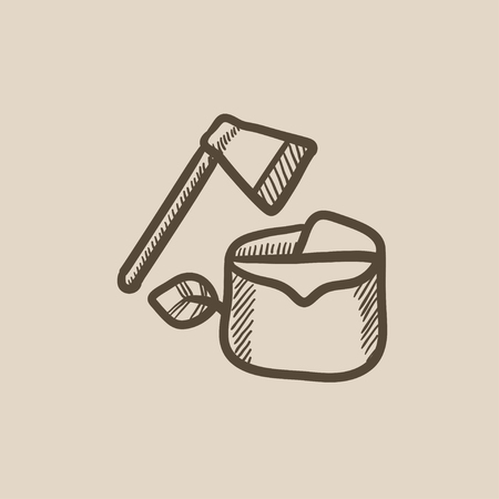 deforestacion: La deforestaci�n de vectores icono de boceto aislado en el fondo. Dibujado a mano icono de la deforestaci�n. dibujo icono de la deforestaci�n para la infograf�a, sitio web o aplicaci�n. Vectores