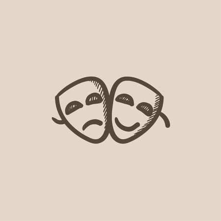 comedy: Two theatrical masks vector sketch icon isolated on background. Hand drawn Two theatrical masks icon. Two theatrical masks sketch icon for infographic, website or app. Illustration