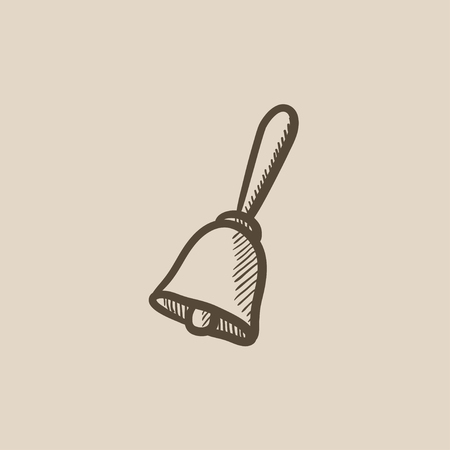 School bell vector sketch icon isolated on background. Hand drawn School bell icon. School bell sketch icon for infographic, website or app.