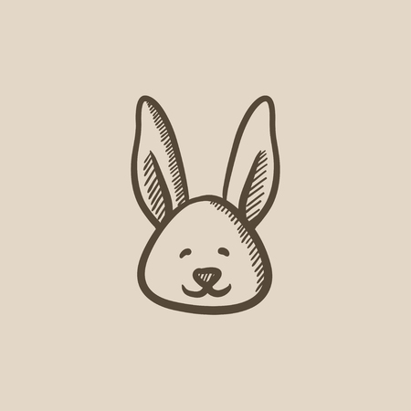 Easter bunny vector sketch icon isolated on background. Hand drawn Easter bunny icon. Easter bunny sketch icon for infographic, website or app. 向量圖像