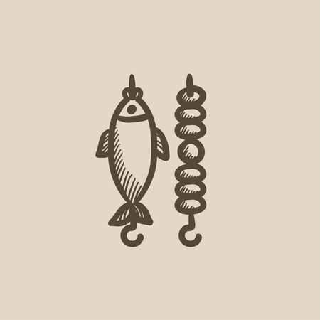 shish kebab: Shish kebab and grilled fish vector sketch icon isolated on background. Hand drawn Shish kebab and grilled fish icon. Shish kebab and grilled fish sketch icon for infographic, website or app. Illustration