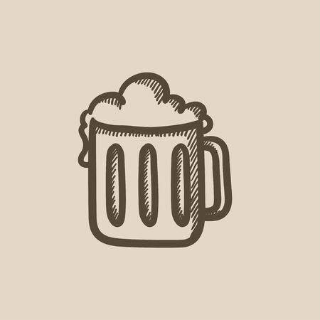 suds: Mug of beer vector sketch icon isolated on background. Hand drawn Mug of beer icon. Mug of beer sketch icon for infographic, website or app.