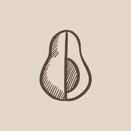 art piece: Avocado vector sketch icon isolated on background. Hand drawn Avocado icon. Avocado sketch icon for infographic, website or app.