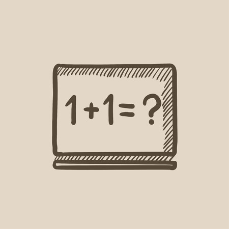 mathematical operation: Maths example written on blackboard vector sketch icon isolated on background. Hand drawn Maths example on blackboard icon. Maths example on blackboard sketch icon for infographic, website or app. Illustration