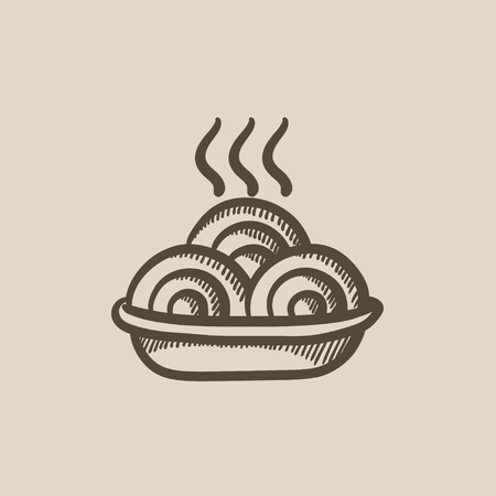 hot plate: Hot meal in plate vector sketch icon isolated on background. Hand drawn Hot meal in plate icon. Hot meal in plate sketch icon for infographic, website or app.