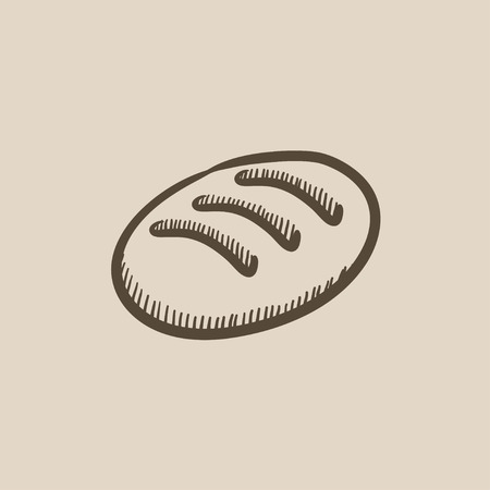 Loaf vector sketch icon isolated on background. Hand drawn Loaf icon. Loaf sketch icon for infographic, website or app. Ilustracja