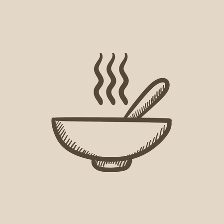 soup spoon: Bowl of hot soup with spoon vector sketch icon isolated on background. Hand drawn Bowl of hot soup with spoon icon. Bowl of hot soup with spoon sketch icon for infographic, website or app. Illustration