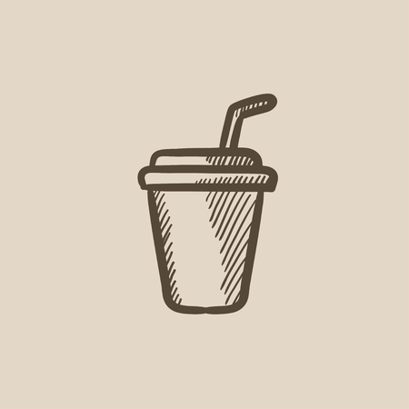 drinking straw: Disposable cup with drinking straw vector sketch icon isolated on background. Hand drawn Disposable cup with drinking straw icon. Disposable cup sketch icon for infographic, website or app.