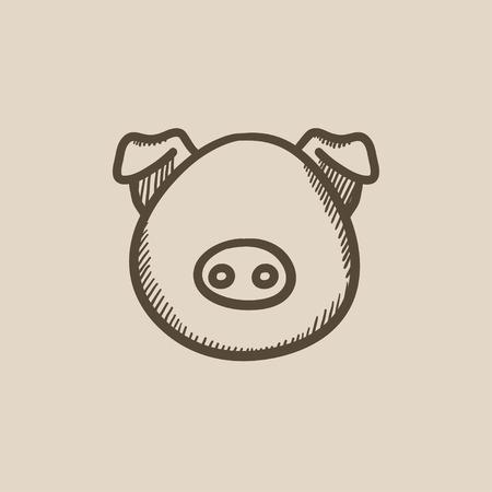 豚頭はベクトルの背景に分離されたスケッチ アイコンです。手には、豚の頭のアイコンが描画されます。豚の頭は、インフォ グラフィック、web サ