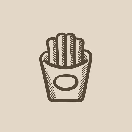 French fries vector sketch icon isolated on background. Hand drawn French fries icon. French fries sketch icon for infographic, website or app. Stock Vector - 59274319