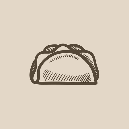 crunchy: Taco vector sketch icon isolated on background. Hand drawn Taco icon. Taco sketch icon for infographic, website or app.