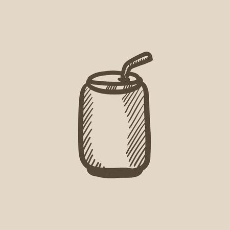 Soda can with drinking straw vector sketch icon isolated on background. Hand drawn Soda can with drinking straw icon. Soda can with drinking straw sketch icon for infographic, website or app.