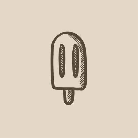 Ice stick vector sketch icon isolated on background.