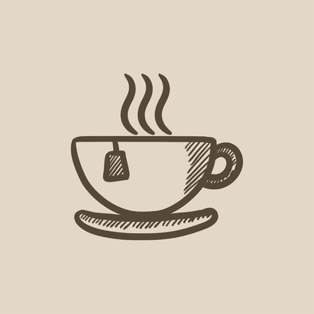 teaparty: Hot tea in cup vector sketch icon isolated on background. Hand drawn Hot tea in cup icon. Hot tea in cup sketch icon for infographic, website or app. Illustration