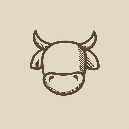 Cow head vector sketch icon isolated on background. Hand drawn Cow head icon. Cow head sketch icon for infographic, website or app.